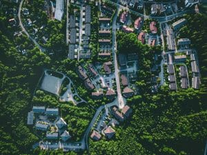 Aerial view of suburb at summertime, residential houses